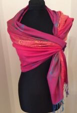 Warm Shades Of Pink/ Blue/Green And Gold Patterned Cashmere Wrap/Scarf
