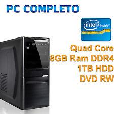 PC COMPUTER DESKTOP FISSO ASSEMBLATO INTEL QUAD CORE i3 RAM DDR4 8GB HDD 1TB DVD