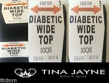 LADIES BLACK 12 PAIRS DIABETIC WIDE TOP SOCKS, SIZE 4 - 6.5. (37-42) (£12.99)