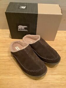 Sorel Falcon Ridge Slippers Suede shearling lined size 11 Brown