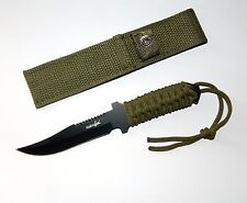 Survivor Full Tang Serrated Back Edge Fixed Blade Outdoor Survival Knife +Sheath