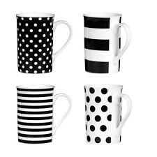 Set Of 4 Black Spots/Stripes Mugs Porcelain Material Tea Coffee Drink New
