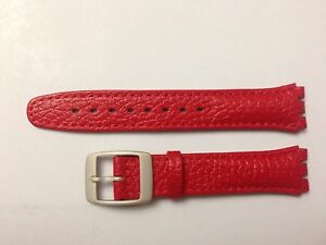 Replacement 17mm Leather Watch Strap in Red for Swatch Metal Buckle