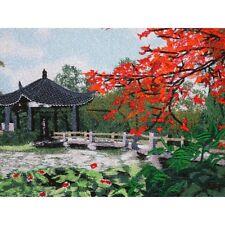Pavillon - chinesisches Bild, Stickbild, Stoffbild, Stickerei, Stickkunst China