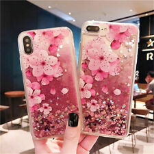 Case For iPhone XR XS Max 7 8 Plus Glitter Quicksand Liquid Flower Pattern Cover