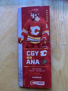 2021 Calgary Flames/Anaheim Ducks Home Opener Game Day Line Up Card.