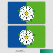 2Pcs Oval FADE TO BLACK Yorkshire Rose York Flag vinyl car sticker Decal 75mm
