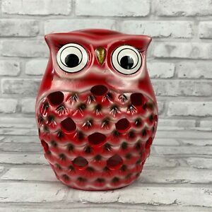 Red Ceramic Owl Luminary Lantern Candle Holder 7.5 Inches