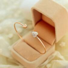 Fashion Jewelry Gift Love Heart Gold Rhinestone Crystal Bangle Cuff Bracelet