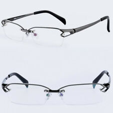 Men 100% Pure Titanium Gunmetal Eyeglass Frames Half Rim Glasses Eyewear Rx able