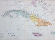 1887 ANTIQUE MAP CUBA & JAMAICA MANZANILLO KINGSTON NEW FILIPIPA