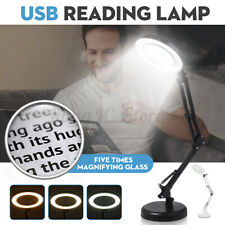 5X Magnifying Lamp Desk Table Top Glass Magnifier LED Light Nail Salon Tattoo