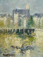 Gustave Loiseau le PONT DE Moret sur LOING 1927 Old Arte Pittura Stampa 1243oma