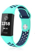 Silicone Sport Bands Compatible Fitbit Charge 3 & Charge 3 Se Teal Navy Blue