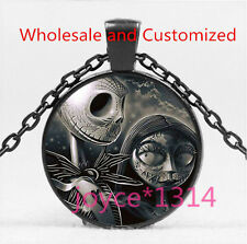 Nightmare Before Christmas Cabochon Black Glass Chain Pendant Necklace HS-5874