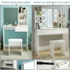 Modern Style Dressing Table White Bedroom Vanity Set Makeup Desk Mirror&Drawer