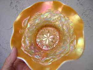 "dugan glass 7 5/8"" 6-PETAL PATTERN PEACH OPAL BOWL carnival WHITE EDGE marigold"