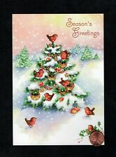 Vintage Christmas Tree Birds Nests Apples Snow Holly - Greeting Card W/ Tracking