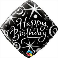 "Foil Balloon 18""(45cm) Happy Birthday Elegant Sparkle & Swirls QUALATEX FOIL ..."