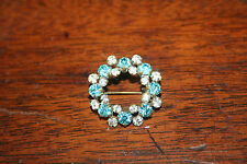 Antique Edwardian Blue and Clear Paste Brooch (#61)