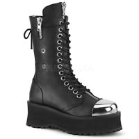 Demonia GRAVEDIGGER-14 Men's Black Punk Goth Platform Lace-Up Mid Calf Boots