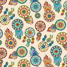 Fabric Native Spirit Beaded Dreamcatchers on Cream Cotton by Elizabeth 1/4 yard