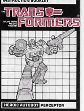 Transformers Original G1 1986 Perceptor Instructions Booklet