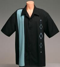 Mens Sz MEDIUM Bowling Shirts Charlie Sheen Retro Vintage Rockabilly Aqua