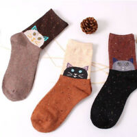 Breathable Socks Cat Animal Printed Women Girl Casual Wool Socks Winter Autumn