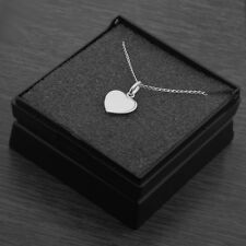 """Genuine 925 Sterling Silver Flat Heart Pendant Necklace Gift Box 18"""" Inches 45cm"""