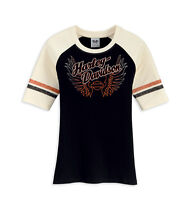 Harley Davidson HD Womens Wings Short Sleeve Black Baseball Shirt Size Small