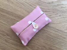 Handmade Packet Tissue Holder Made Using Clarke and Clarke Dotty Rose Fabric