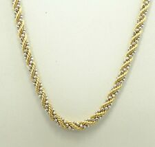 "14K Yellow Gold Rope Chain White gold Beaded Wrapped Necklace 18"" D6727"