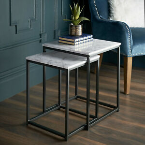 Tromso Nest of 2 Tables Marble Effect  Top, With Black Metal Legs Stylish Tables