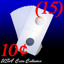 (15) Dime Size 2x2 Mylar Cardboard Coin Flips for Storage | 10 Cent Paper Holder