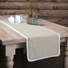 KENDRA STRIPE BLACK Table Runner French Country Stripe Lace Farmhouse 13x72