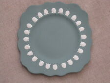Rare vintage Wedgwood Jasperware teal green plate with shell relief