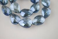 5pcs 24x17mm Faceted Flat Crystal Glass Teardrop Loose Beads Transparent Blue