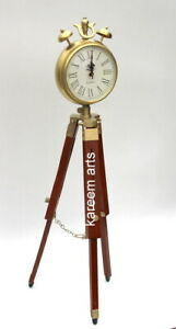 Nautical Home Decor Antique Clock Wooden Desk With Tripod Table Stand