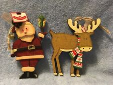 Wooden Deer & Santa Claus Christmas Ornaments by Holiday Time