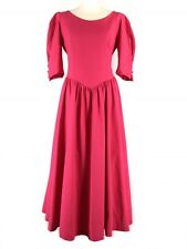Vintage 80s LAURA ASHLEY Pink Blouson Bustle Dress 12 14 Victorian Steampunk