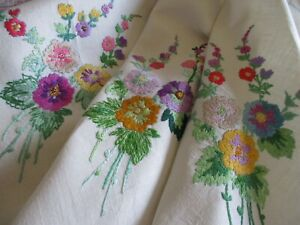 Vintage Hand Embroidered Linen Tablecloth-BEAUTIFUL FLORAL'S(UNUSED)
