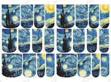 24 WATER SLIDE NAIL ART DECALS * Van Gogh's STARRY NIGHT * FULL NAIL COVERS