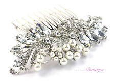 Bridal Wedding Vintage Style Crystal & Pearl Silver Hair Comb Slide HC03