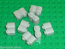 Lot de 8 LEGO OldGray Brick 1 x 2 Log ref 30136 / Set 1376 6093 7119 6083 8357 .