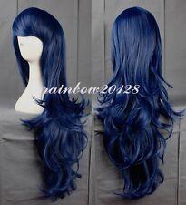 "32"" Blue Lolita Big Wavy Curly Long Anime Cosplay Wig"