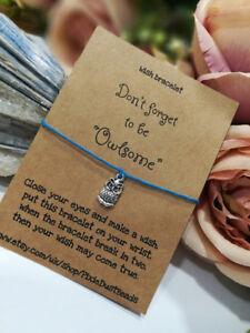 Owl Bracelet, Owl Lover Gift, Owl Wish Bracelet, Owl Jewellery, Graduation Gift