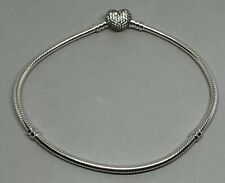 NEW PANDORA 20CM Moments Bracelet Sterling Silver with Pave Heart Clasp S925 ALE