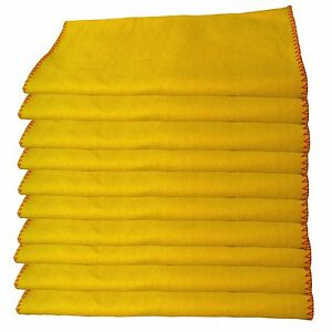 100% Cotton Packs  YELLOW DUSTERS 12X14 INCHES Super Absorbent PLAIN -DEAL OF 50
