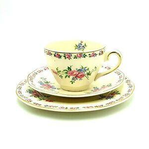 Vintage Wedgwood Harmony Rose Teacup Saucer Plate  England Pink Roses 1950s